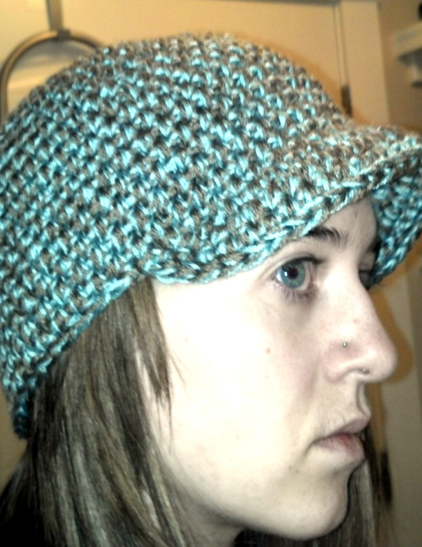 blue & brown crochet hat w/ brim